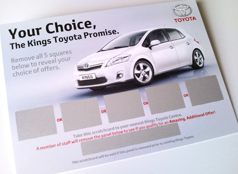 Scratch Card Project: Toyota car sales scratch card