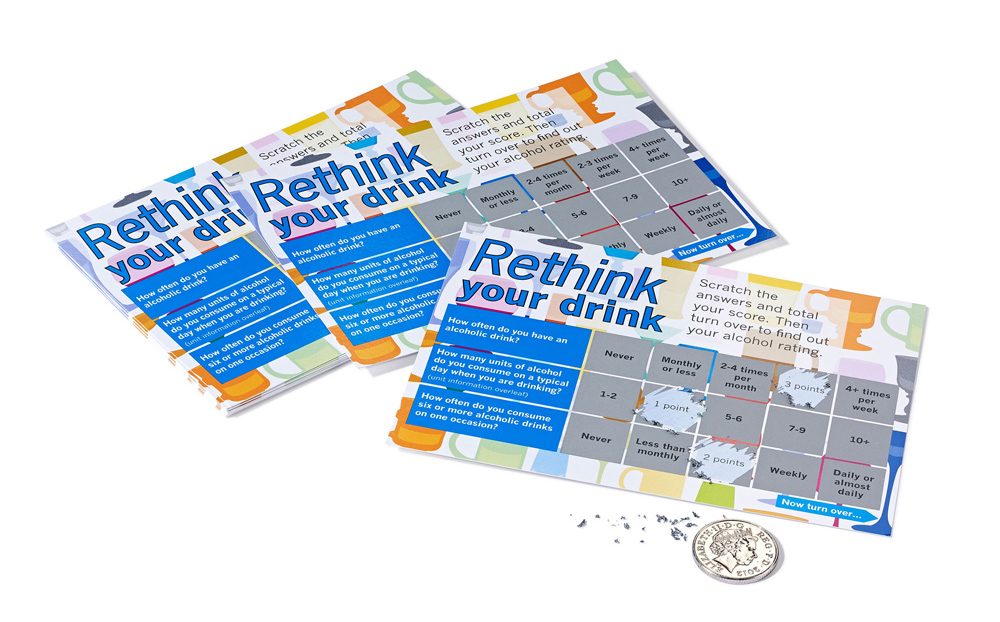 Super scratch card example (135mm x 97mm) - Full colour print, front and back with a matt laminated front and an uncoated back