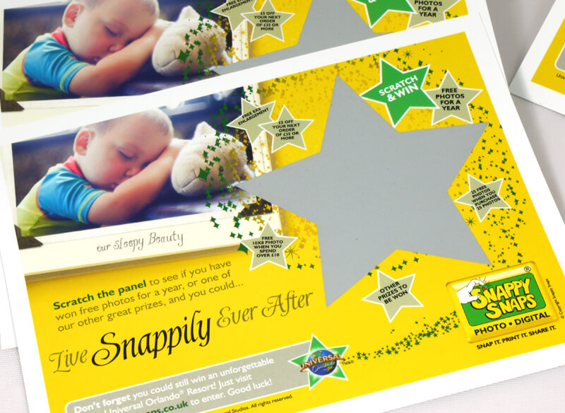 Scratch Card Project: Snappy Snaps – shaped latex