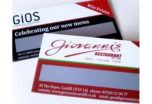 Giovanni's Restaurant Scratch Cards