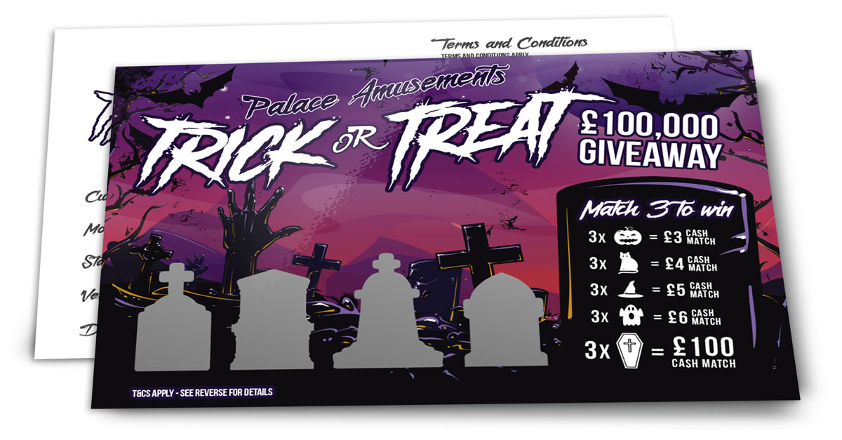 CMYK Halloween scratch card design